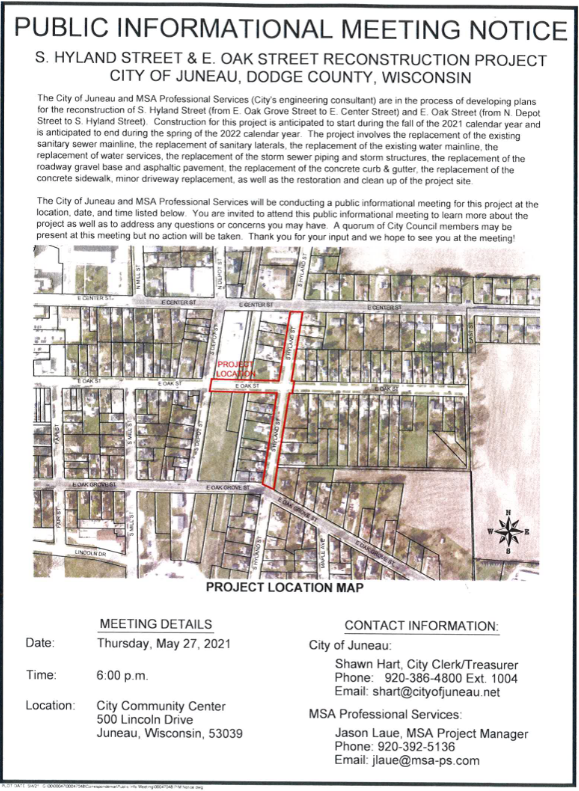Notice of Construction on S. Hyland and E. Oak